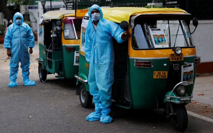 Autorickshaw ambulances in Delhi are lending a great help in transporting Covid-19 patients and their relatives to the hospital (Pic: Courtesy reuters.com)