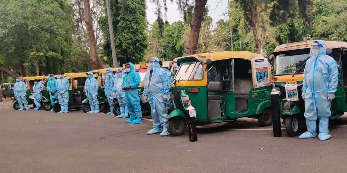 Ready to serve. A row of autorickshaw ambulances in Delhi are in attention to take Covid-19 patients to hospital y (Pic: Courtesy qz.com)