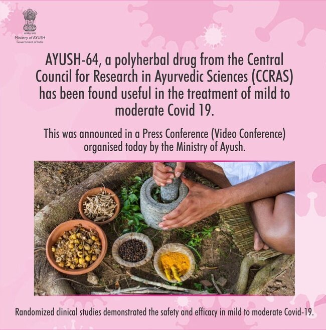 The Ministry of Ayush has started free distribution of AYUSH 64 at many locations
