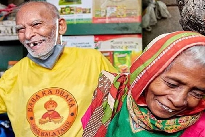 Kanta Prasad with his wife at his Baba Ka Dhaba which became overnight a hot spot for food lovers