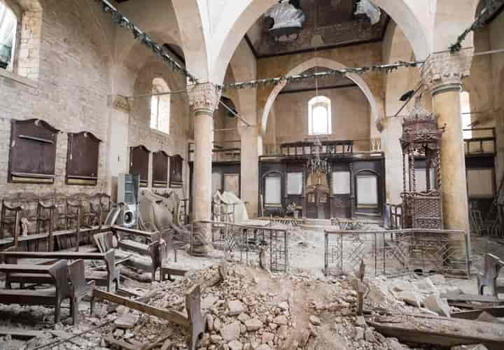 A badly damaged Greek Orthodox church in the old quarter of Aleppo (Photo courtesy Open Doors International)