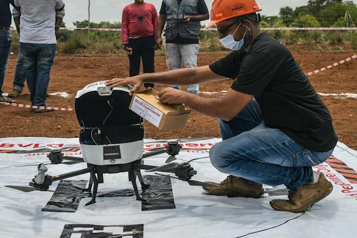 Drone being tested near Bengaluru to enable delivery of medicines and other healthcare accessories to remote and inaccessible parts of the country (Pic: Courtesy news18.com)