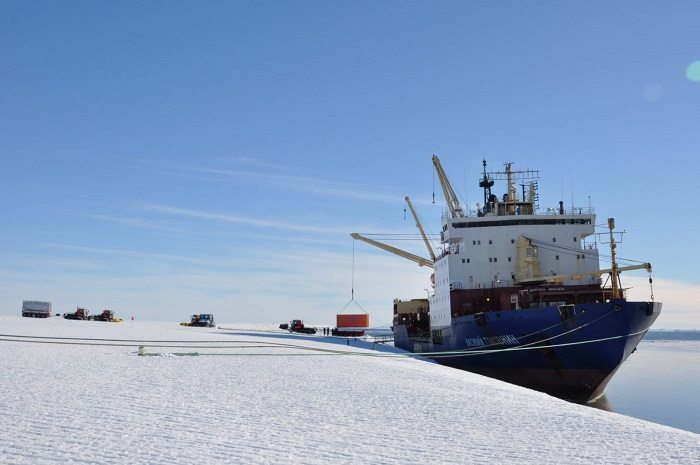 Offloading of cargo and decanting of fuel in progress after the 40th Indian Expedition team on board Vasiliy Golovnin reached the Ice shelf barrier of Maitri Station in Antarctica, last month (All images courtesy: National Centre for Polar and Ocean Research)