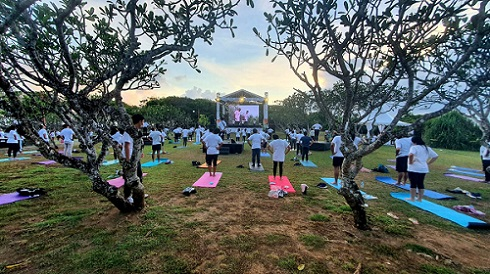 Consulate General of India in Bali celebrates the 7th International Day of Yoga with strict health protocol measures on Sunday at Nusa Dharma Island