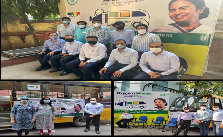 The Oxygen On Wheels bus offered by the Jain International Trade Organisation inaugurated in Kolkata