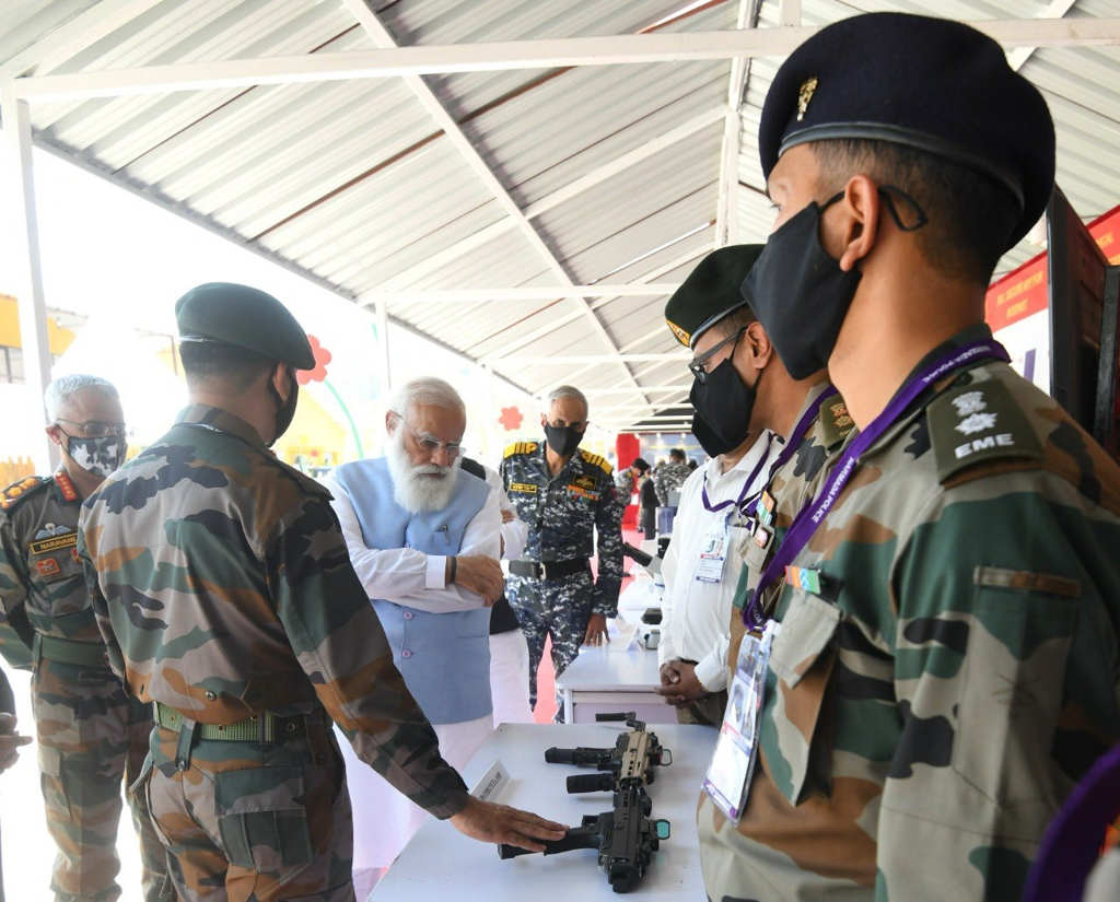 Prime Minister Narendra Modi at the Kevadia Combined Commanders Conference in Gujarat (IANS)