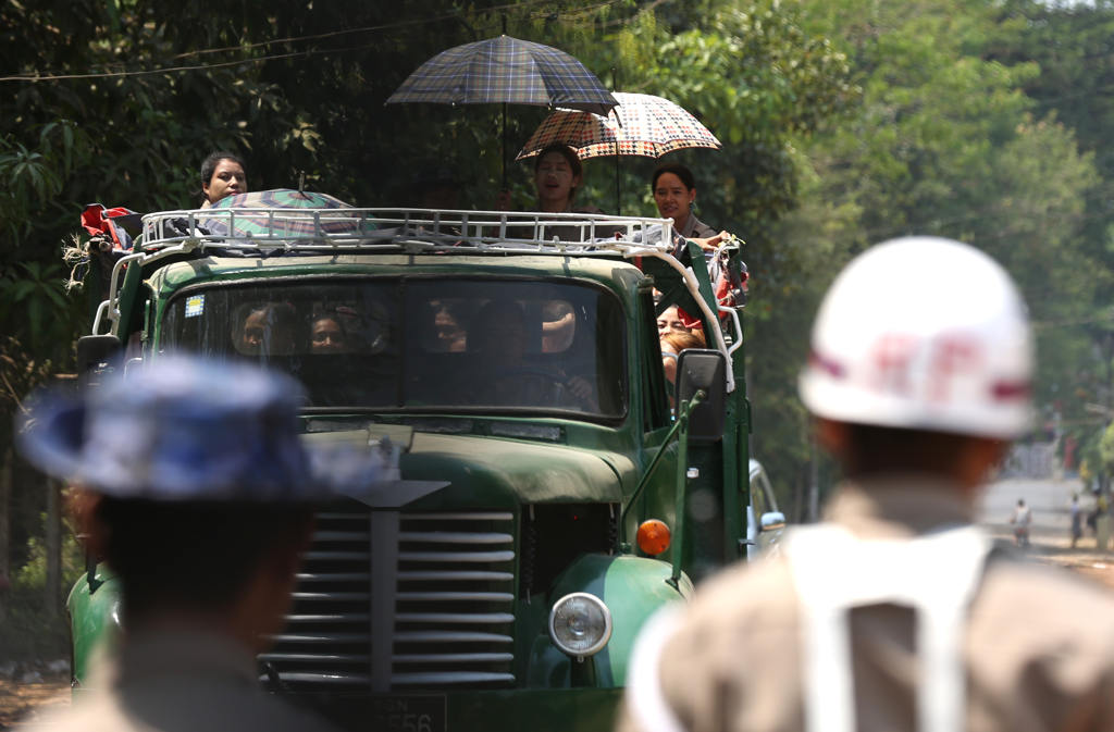 File photo of release of prisoners by Myanmar forces in Yangon (IANS)