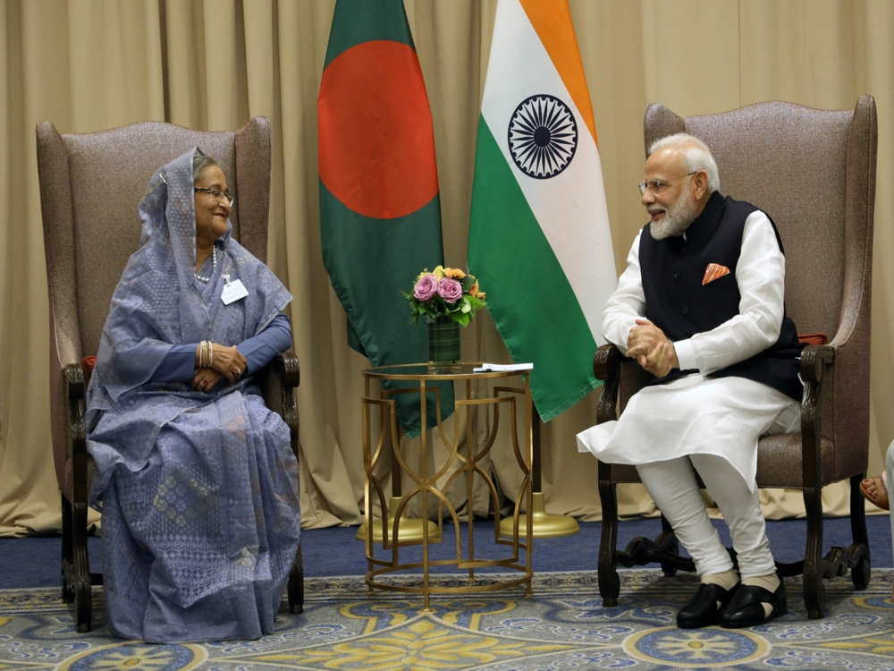 Prime Ministers Narendra Modi and Sheikh Hasina meeting at New York