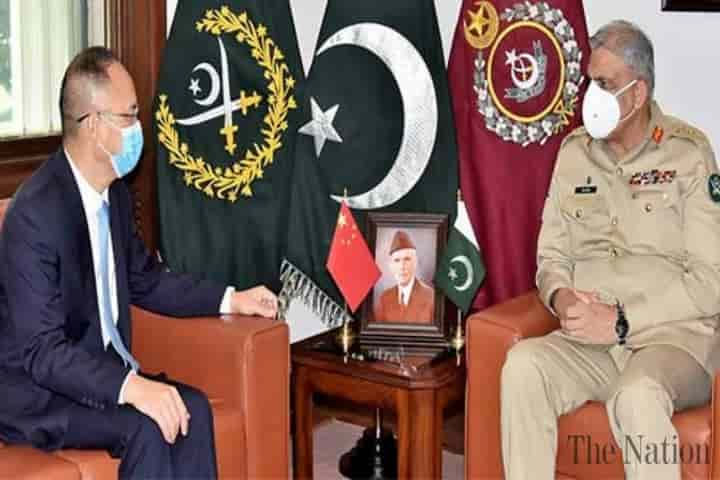 Not satisfied with the progress in the investigation of the attack on Chinese engineers  in Kohistan district on July 14, the Chinese ambassador to Pakistan met the country's powerful  army chief General Qamar Javed Bajwa (Pic: Courtesy nation.com.pk)