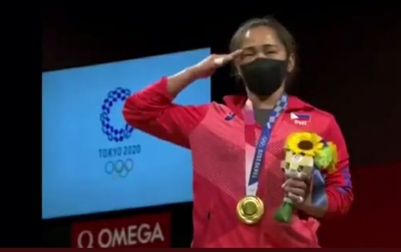 The Philippines' weightlifter, Hidilyn Diaz wins her country's first-ever Olympics gold medal by creating a Games record in the 55kg weightlifting event (Photo: IANS)