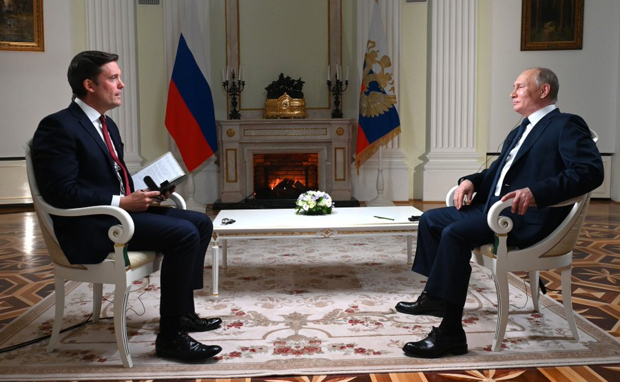 Russian President Vladimir Putin gives an interview to US channel NBC before the historic summit (Photo courtesy: @KremlinRussia_E)
