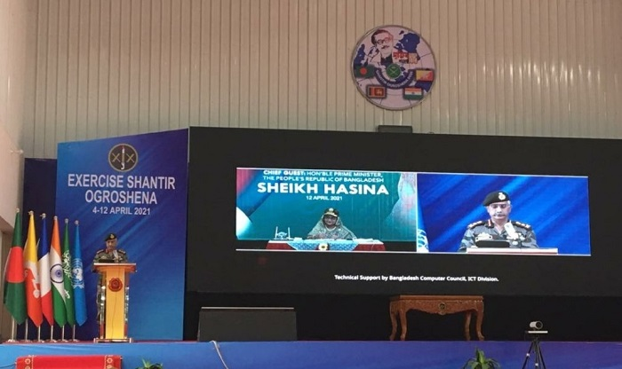General MM Naravane, Chief of the Indian Army, during the closing ceremony of the Exercise Shantir Ogrosena-2021in Bangladesh on Monday (Image courtesy: Indian Army)
