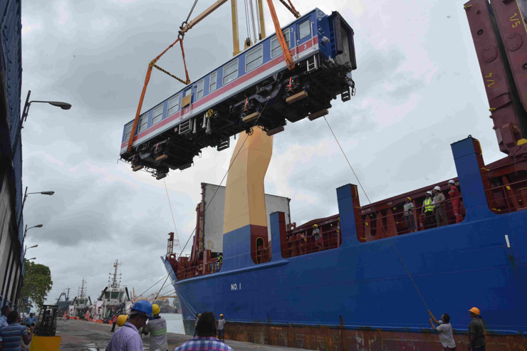 A Chinese railway coach is unloaded at the Colombo Port in 2019 (Photo: Gayan Sameera/Xinhua/IANS)