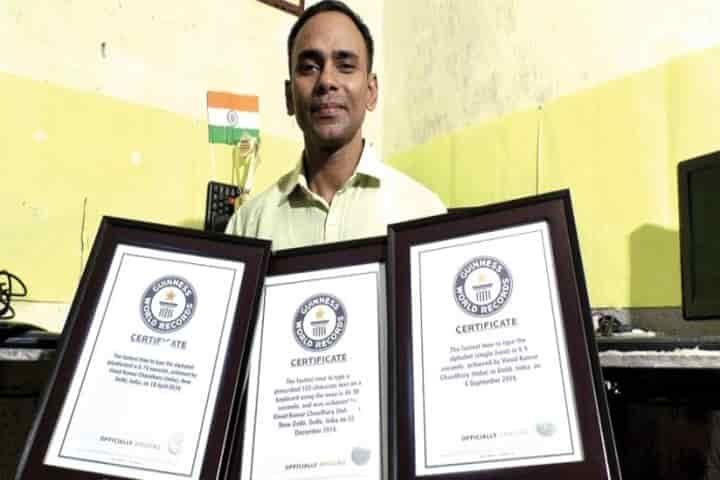 Vinod Chaudhary has typed himself to glory by creating feats which are part of the  Guinness World Records
