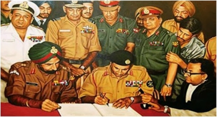 Amrullah Saleh, Afghanistan's First Vice President, tweeted this picture of the 1971 war in which Lt. Gen. Niazi of the Pakistani Army signed the Instrument of Surrender before Lt. Gen. Aurora in Dhaka