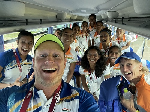 Indian coach Sjoerd Marijne with the rest of the women's hockey team after the win against Australia on Monday. Indian women now take on World Number 5 Argentina in the semifinal of the 2020 Tokyo Olympic Games on Wednesday  (Image courtesy: Twitter/@SjoerdMarijne)