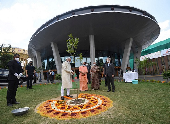 Prime Minister Narendra Modi planting a sapling at the inauguration of the International Cooperation and Convention Centre - Rudraksh, in Varanasi, Uttar Pradesh, on Thursday (Image courtesy: PIB)