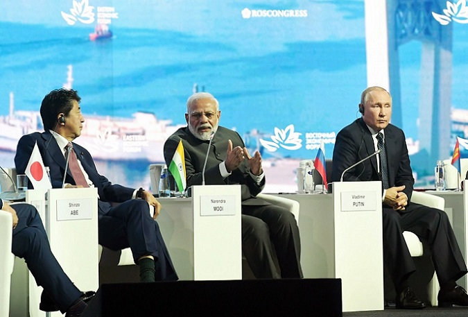 A file photo of Prime Minister Narendra Modi with the Russian President Vladimir Putin and the then Prime Minister of Japan, Shinzo Abe at Vladivostok, in Russia on September 4, 2019 (Image courtesy: PIB)