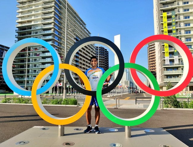 Indian table-tennis player Sharath Kamal at the Tokyo Olympics Games Village (Image courtesy: Twitter/@sharathkamal1)