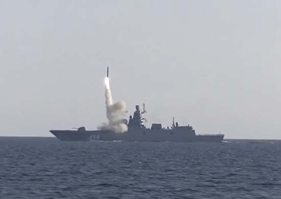 The lead frigate of project 22350 Admiral Gorshkov test fires Zircon hypersonic cruise missile on Monday (Image courtesy: Ministry of Defence, Russia)